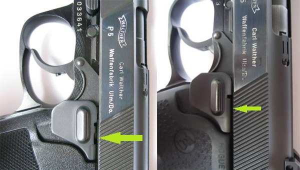 Walther P5 slide release variations