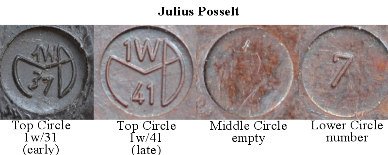 Julius Posselt Grip stamps for P38