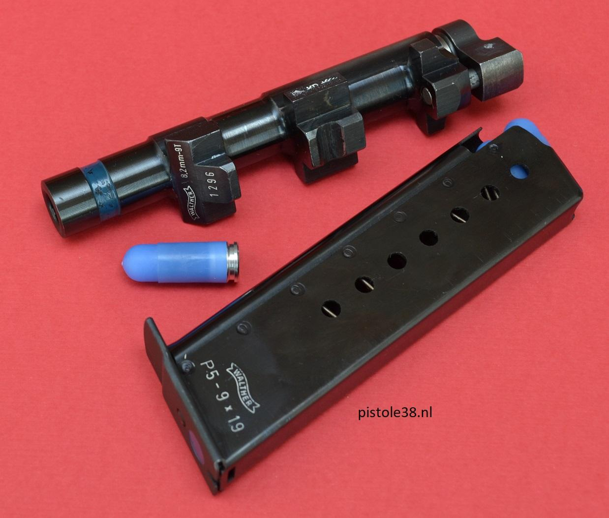 Walther PT 8.2mm-9T system for shooting plastik training ammo from the P5